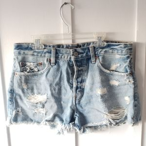 Abercrombie Distressed ButtonUp Jean Cutoff Shorts